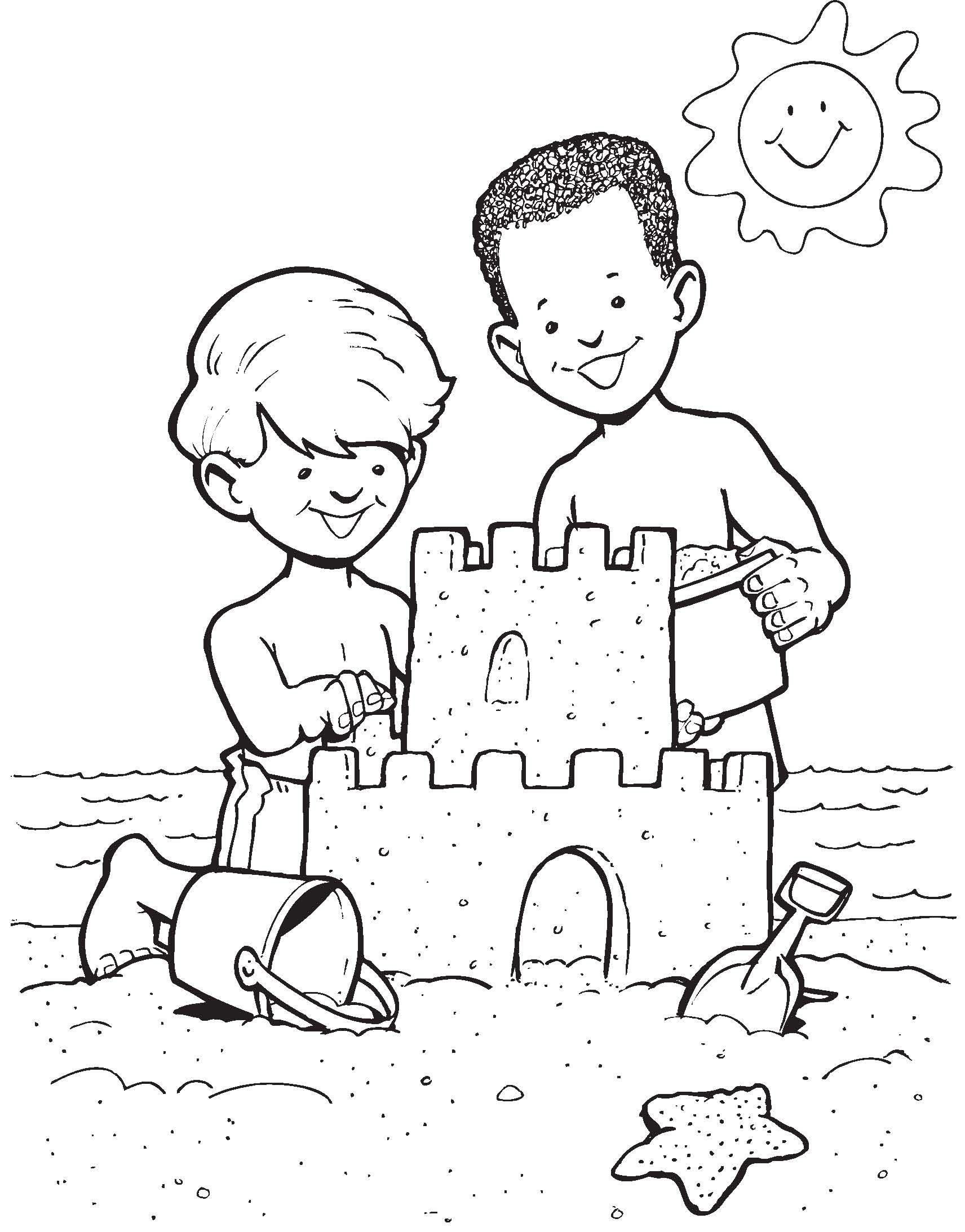 Sandcastle Fun Castle Coloring Page Summer Coloring Pages Free Disney Coloring Pages