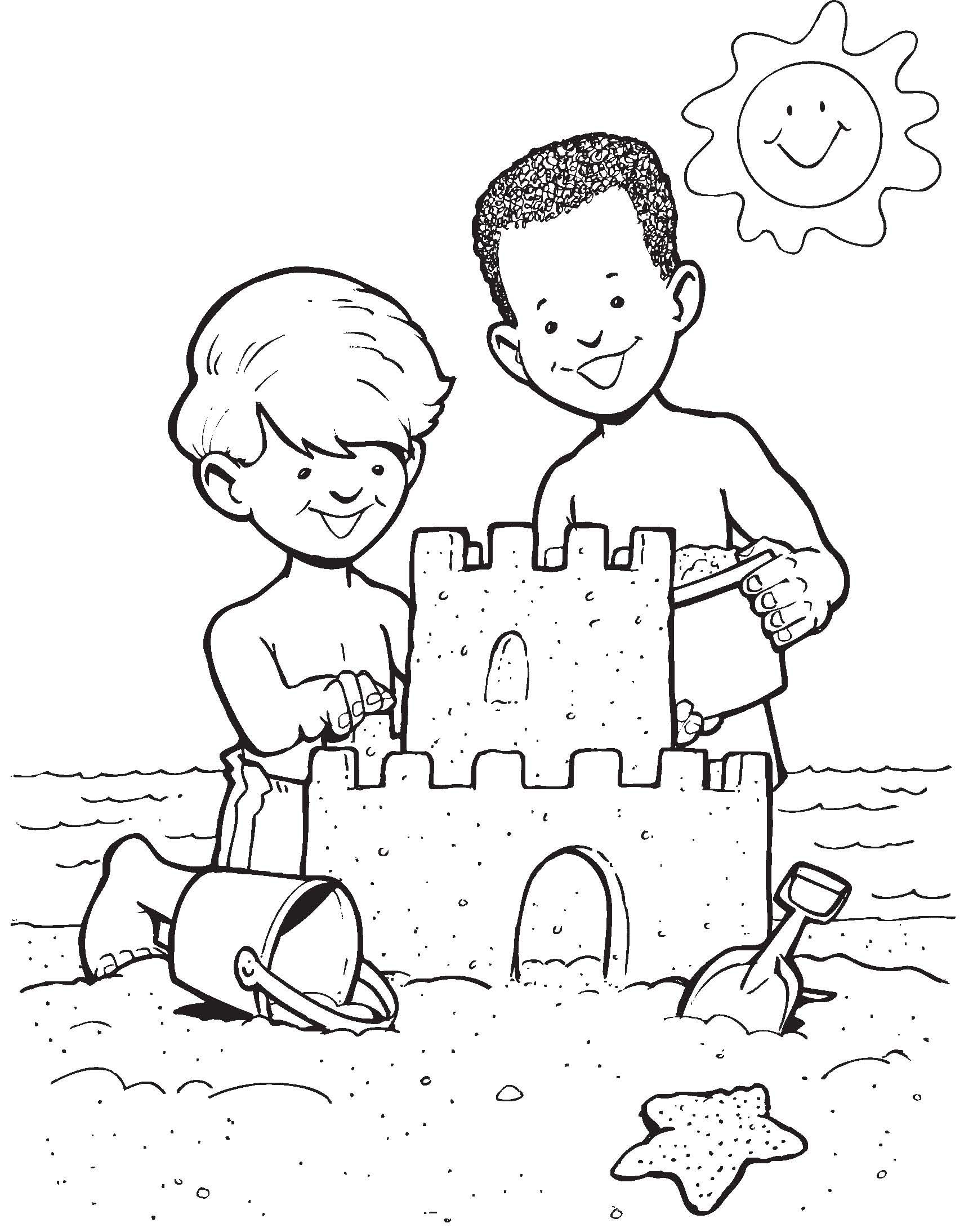 Sandcastle Fun Summer Coloring Pages Beach Coloring Pages
