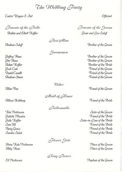 wedding programs Wedding Pinterest Matrimonio, Disposizione - wedding agenda sample