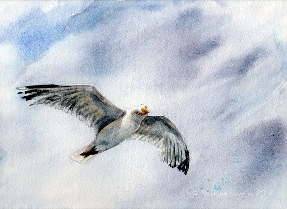 Watercolor Painting Sea Bird In A Blue Grey Sky By Sandra Ovono
