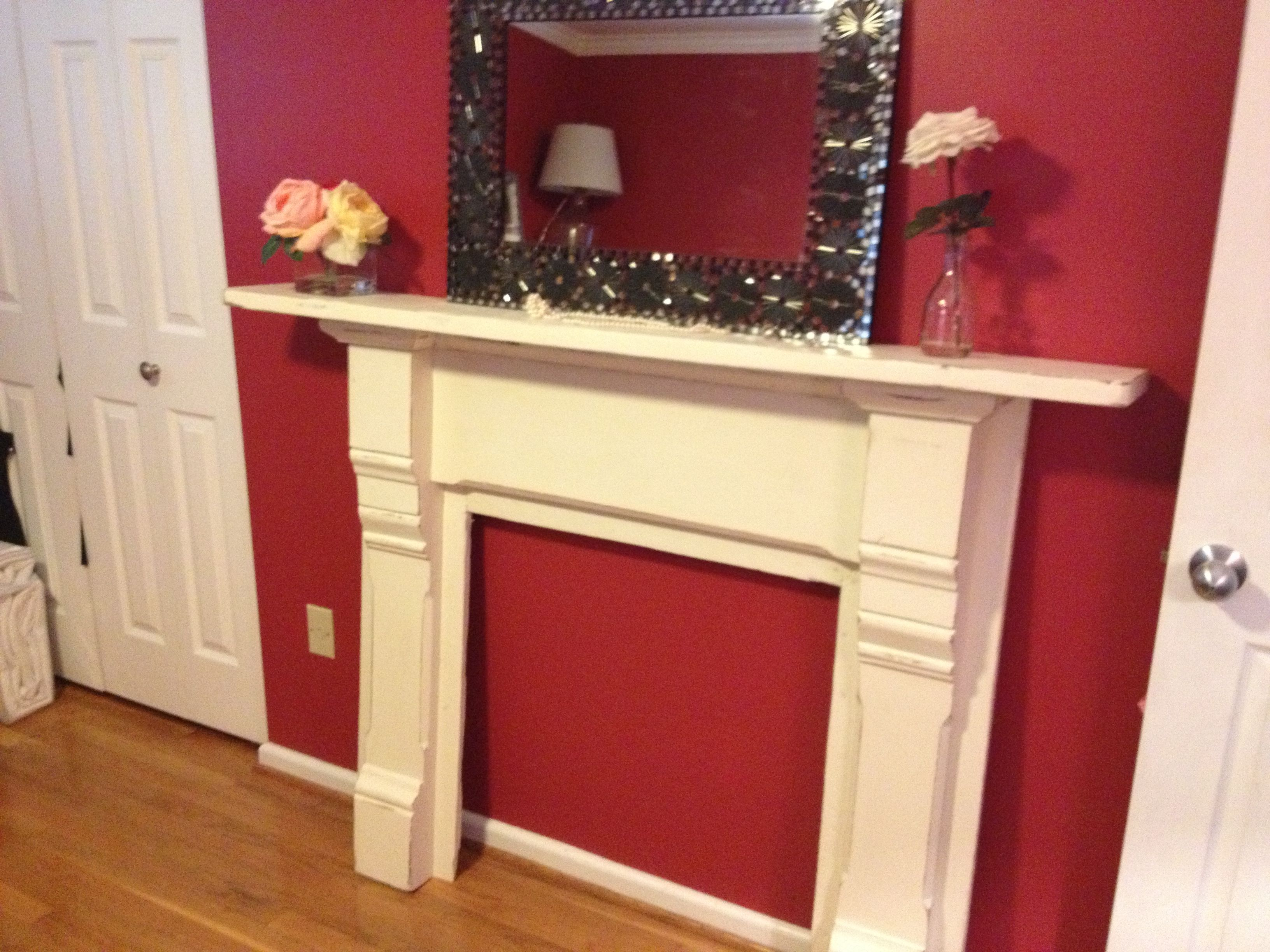 Hearth Repurposed Mantle From A Second Hand Store Diy Finding The Chic In Shabby Faux Fireplace Fireplace