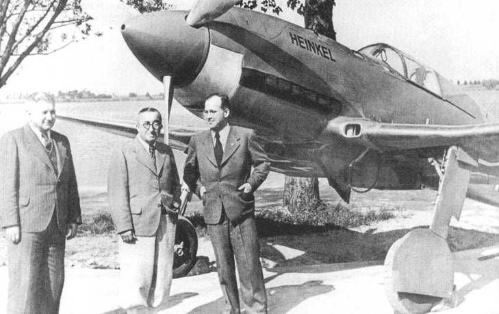 Ernst Heinkel (centre) with He-100 Heinkel He 100 (1938) was a German pre-World War II fighter aircraft design from Heinkel. Although it proved to be one of the fastest fighter aircraft in the world at the time of its development, the design was not ordered into series production. Approximately 19 prototypes and pre-production examples were built.
