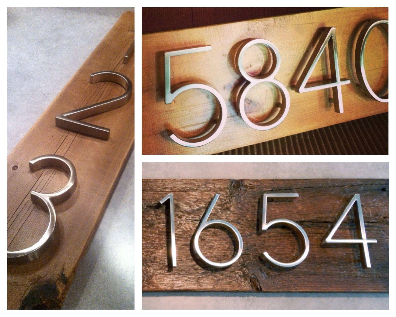 Modern Nickel House Numbers on Salvaged Wood by