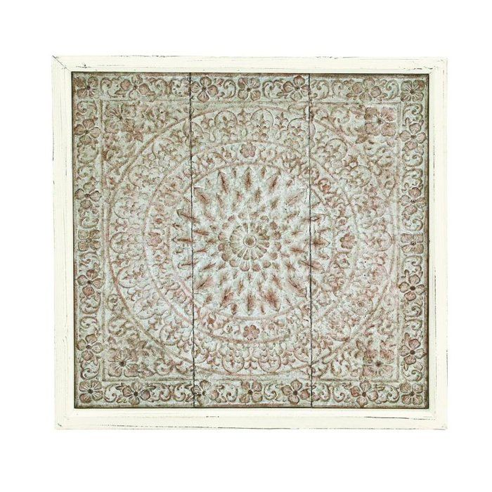 Featuring an ornate medallion motif, this wood-framed metal wall ...
