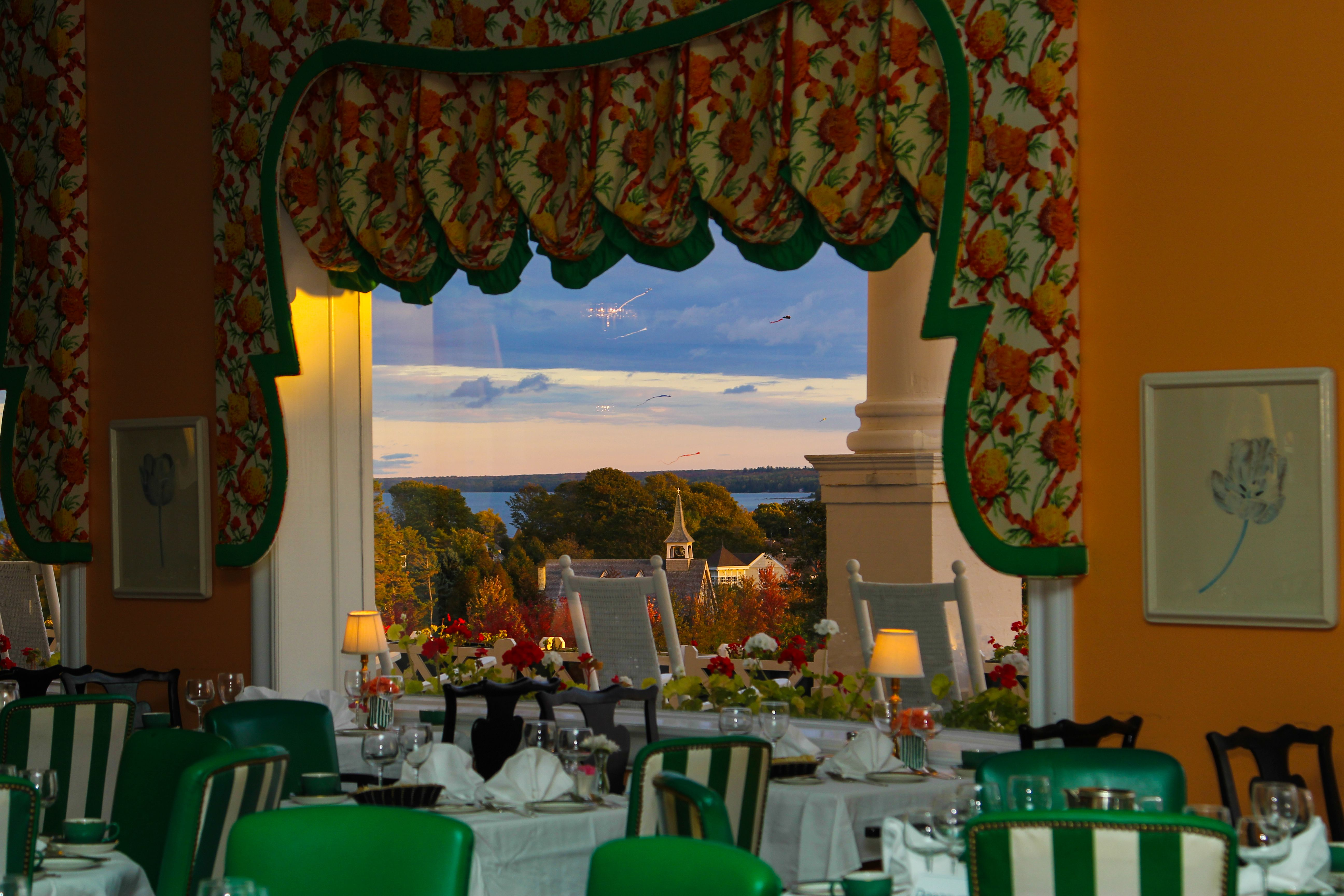 View Out The Window In Fall From The Main Dining Room At Grand Hotel Dinnerwithaview Mackinacisland Grandhotelm Mackinac Island Grand Hotel Mackinaw City