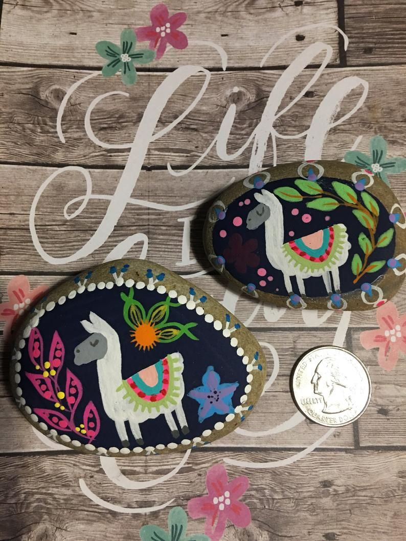Boho Llama With Colorful Flowers And A Border Hand Painted Etsy Hand Painted Rocks Rock Crafts Painted Rocks