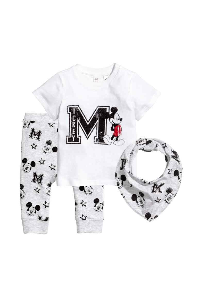 82170af4c2e87 3-piece jersey set - White/Mickey Mouse - | H&M 1 | Baby clothes ...