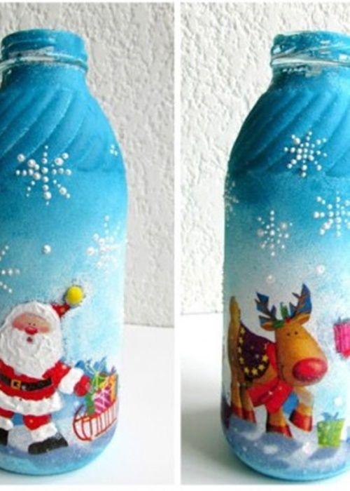 checa estas hermosas botellas decoradas con motivos navideños! #DIY
