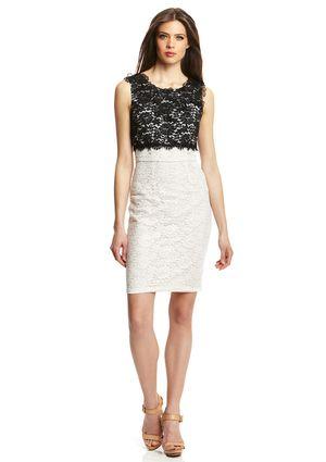 Bcbgmaxazria Off White Combo Contrast Lace Top Sheath Dress Rue La