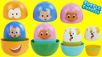 Play Doh BUBBLE GUPPIES SURPRISE EGGS Stacking Nesting Cups Pocoyo
