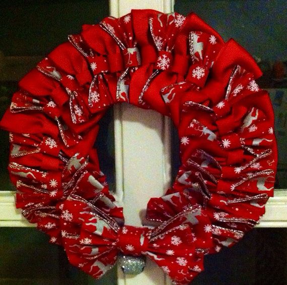 Santa's Reindeer Christmas Bow Wreath With Silver Jingle Bell on Etsy, $18.00