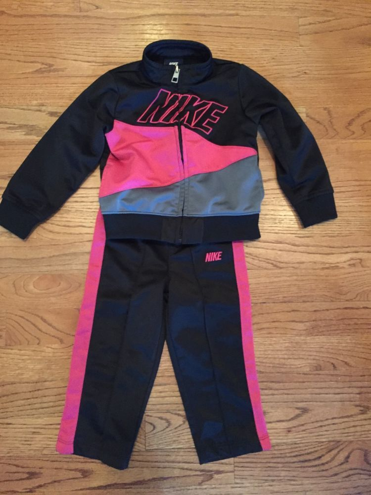 2f97ae9eb68592  nike jogging suit outfit little  girl s  toddler size 24 months jacket  pants euc from  9.99