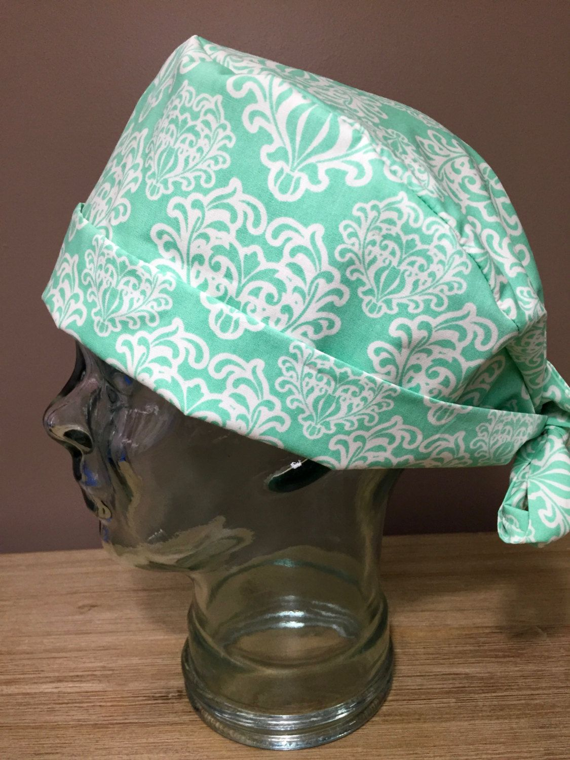 Mint Damask Surgical Scrub Hat 4ba51742693