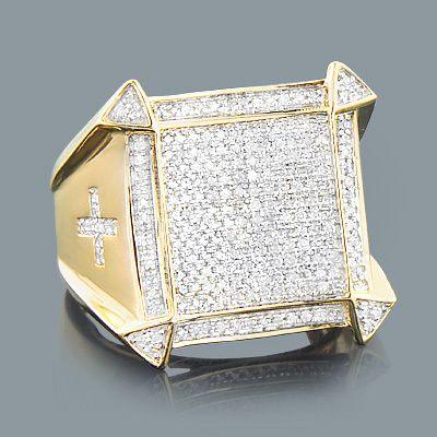 Mens Diamond Cross Ring 081ct 10K Gold Jewelry Diamond cross