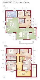 Fertighaus Grundriss mit Satteldach 5 Zimmer 160 qm Erker