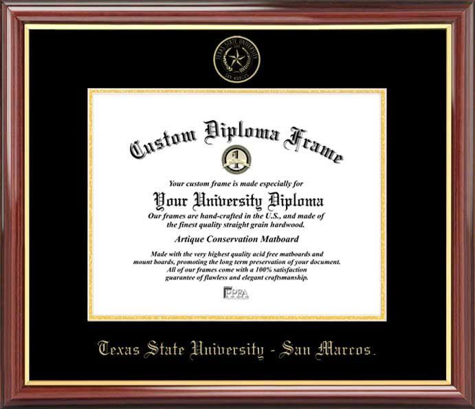 Texas State University San Marcos Diploma Frame Embossed Seal Mahogany Gold Trim Diploma Frame University Diploma Diploma