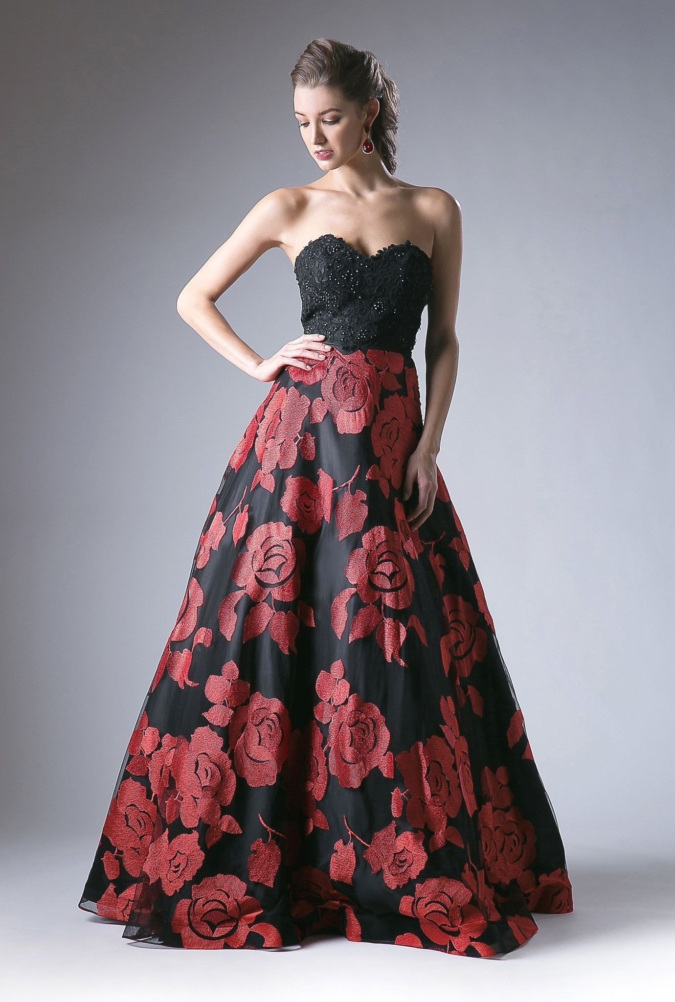 Long Strapless Black and Red Floral Print Dress by Cinderella Divine