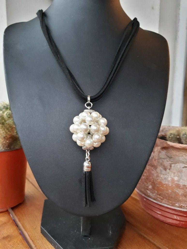 6ed48ae0e223 INDRA JOYERIA ARTESANAL Colgante con pentabola de perlas Collar De Hilo