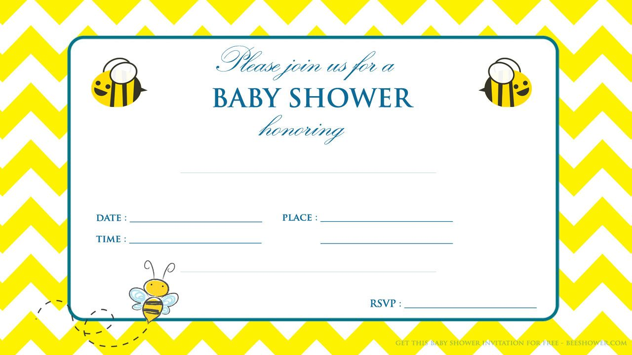 Awesome Free Printable Yellow And White Baby Shower Invitation