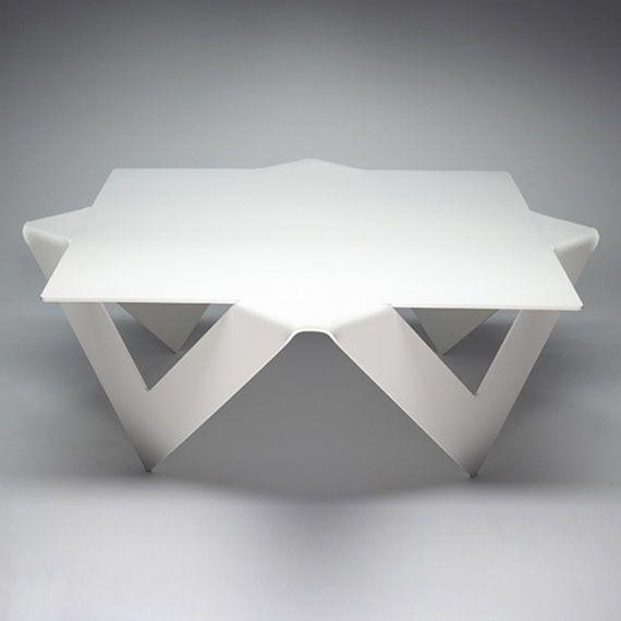 Industrial Unique Metal Designer Coffee Table: Unique Coffee Table Design Folded Steel