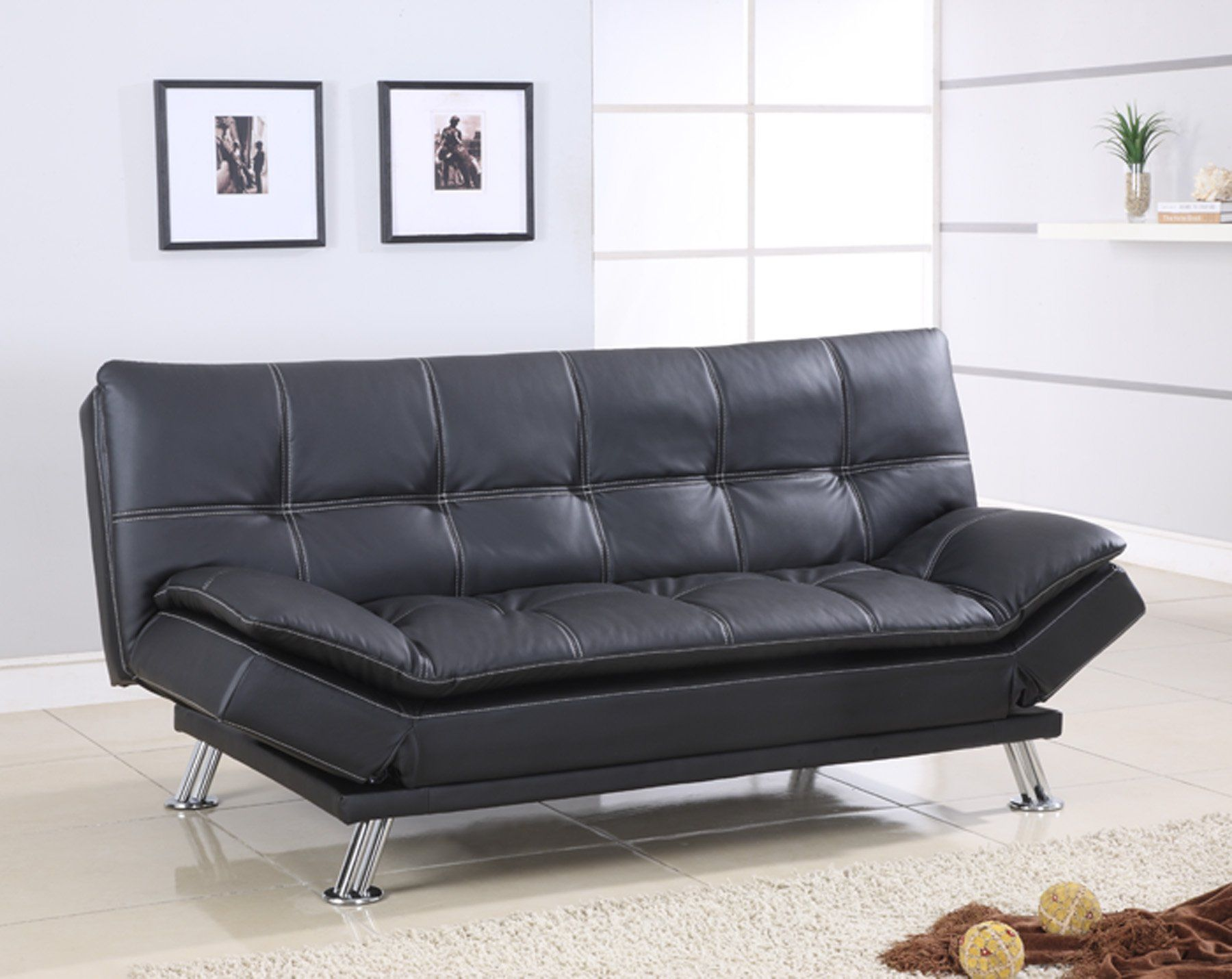 Best Quality Furniture S298 Sofa Bed Modern Faux Leather Black ...