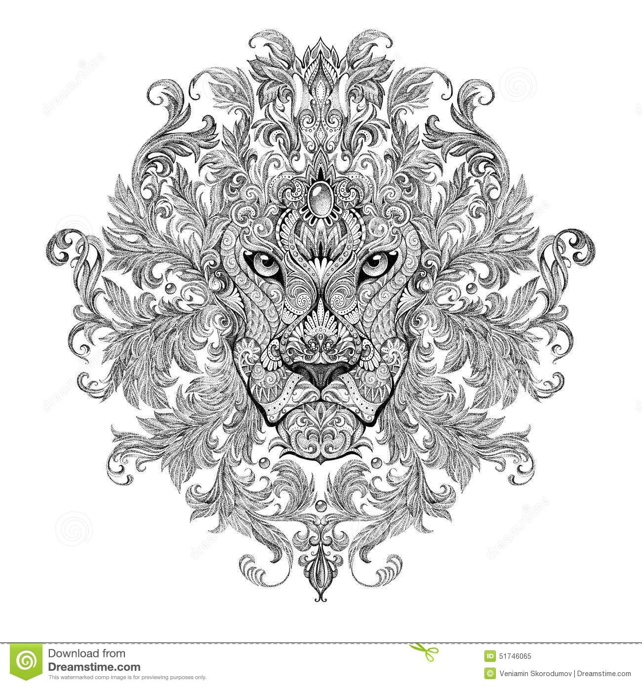 Tattoo Graphics Head Of A Lion With Mane Stock Illustration
