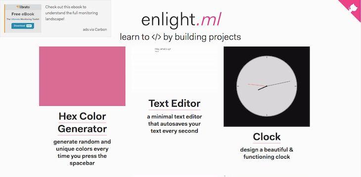 #Programación_y_Diseño #Internet #programación Enlight, para aprender a programar creando proyectos concretos