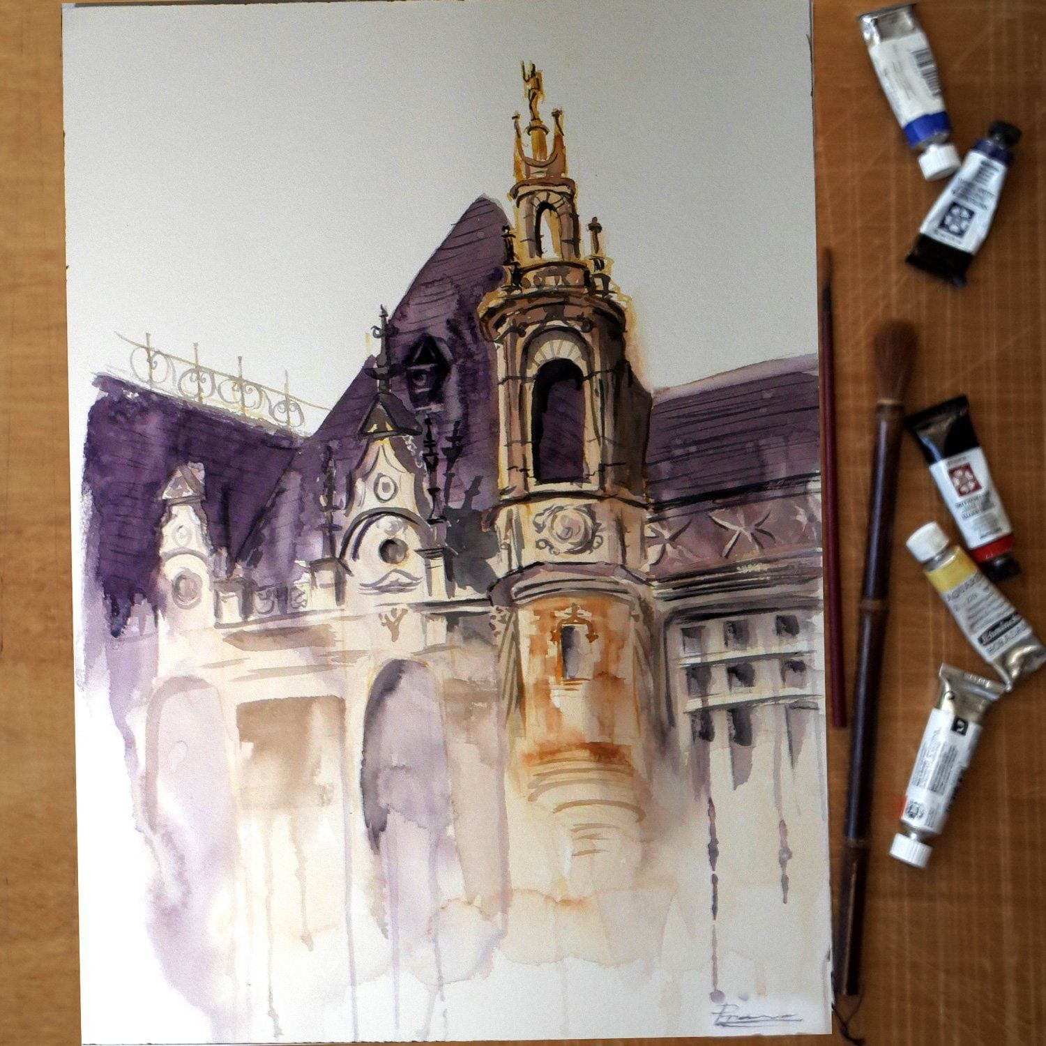 Architectural sketch ORIGINAL Watercolor Paris Painting