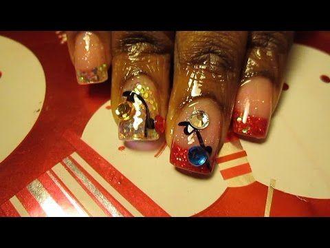 Christmas Acrylic Nails Youtube Tutorial Stefani Elane Pinterest