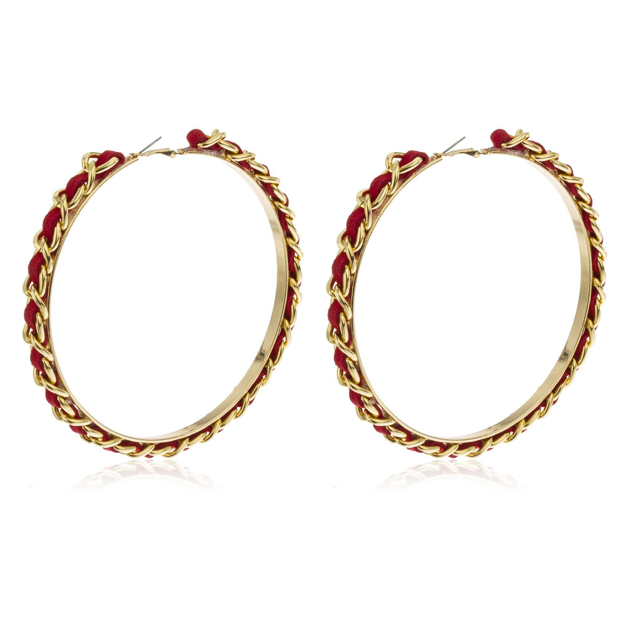 Large Goldtone 4 5 Inch Cuban Link Hoops With Red Braided Fabric Earrings