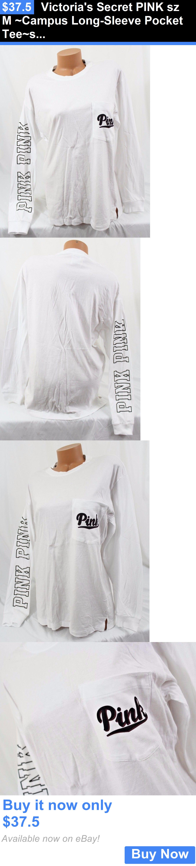 12f22463a8e Women T Shirts: Victorias Secret Pink Sz M ~Campus Long-Sleeve Pocket Tee~ Shirt, White, Script BUY IT NOW ONLY: $37.5