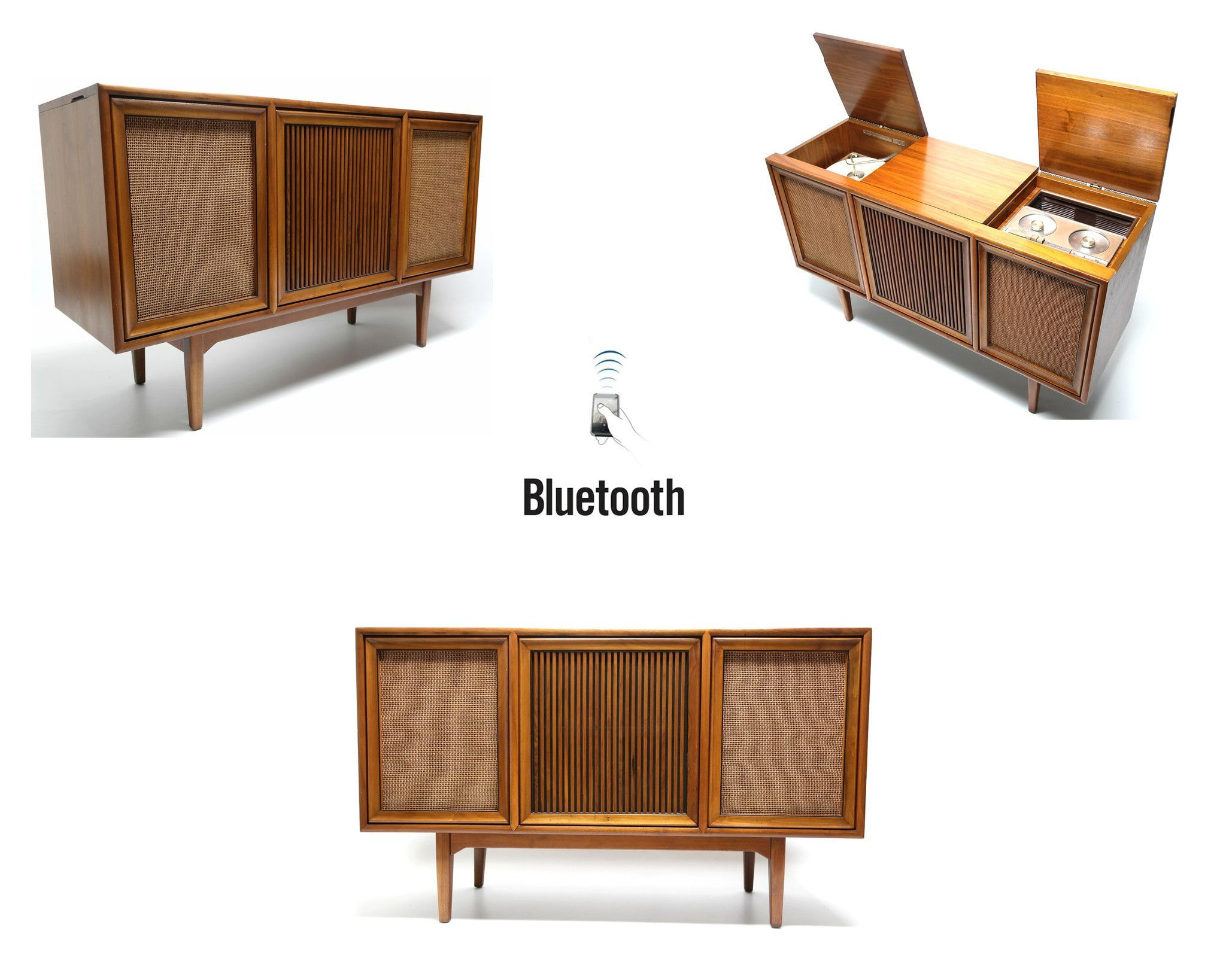 Mid Century Modern Stereo Console By Motorola Record Changer - AM ...