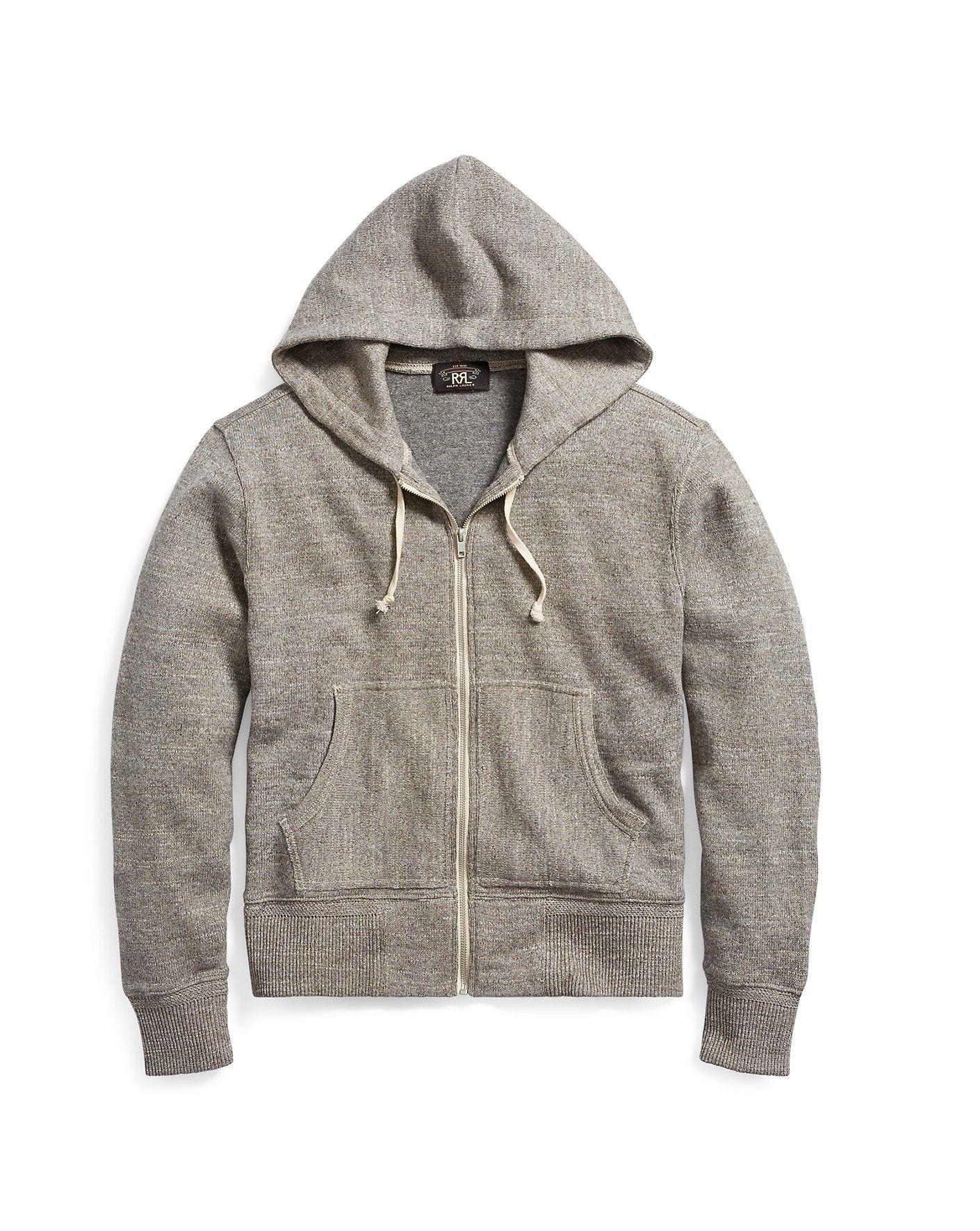 Rrl Cotton Wool Hoodie Light Grey Heather Ralph Lauren Men Polos Hodie Ralphlauren Cloth All