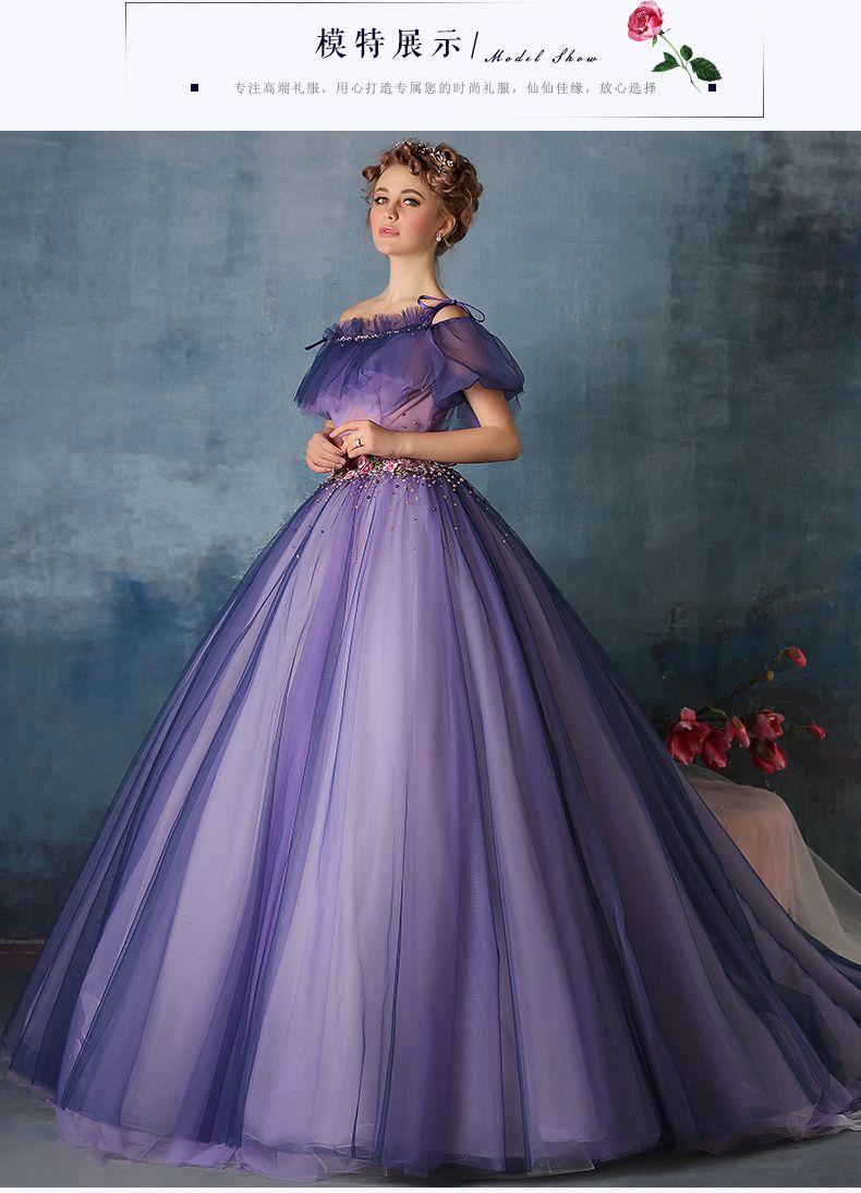 100% real roxo flor beading plissado cintura vestido Medieval ...