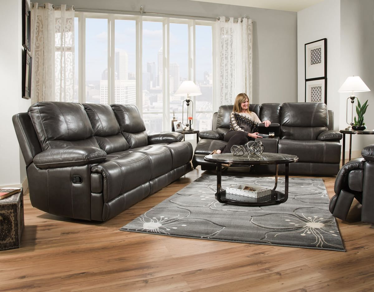 Corinthian Brooklyn Charcoal Leather Collection Living Room Sets