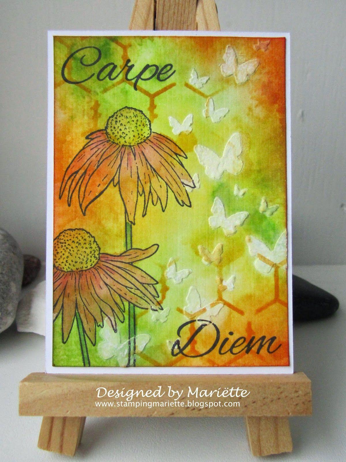 ATC met Magenta stempels en stencils, gesso en distress inkten         Magenta stempels:   Echinacea   Carpe Diem     Magenta stencils:   C...