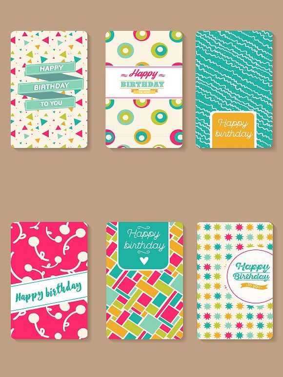 Set Of Happy Birthday Cards Creative Business Card Templates