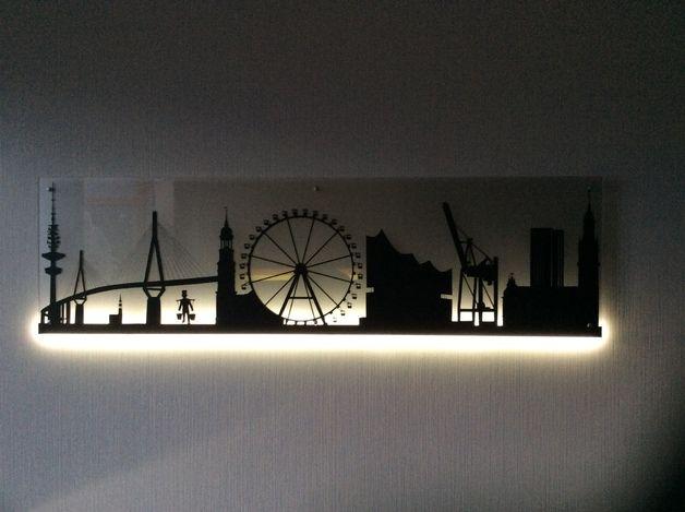 Wandleuchten wandlampe led lampe skyline licht schild - Wandlampe indirekte beleuchtung ...