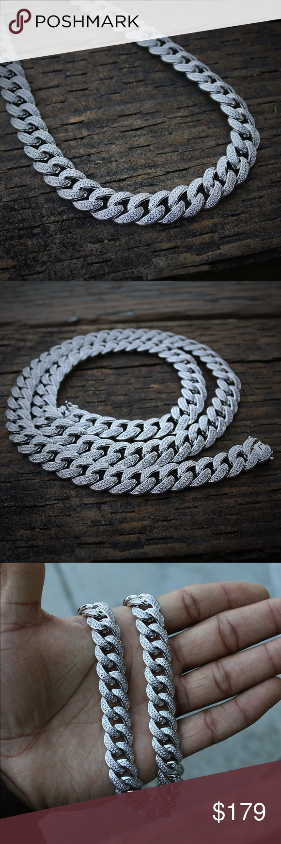 White Gold Iced Out Cuban Link Chain Necklace Boutique