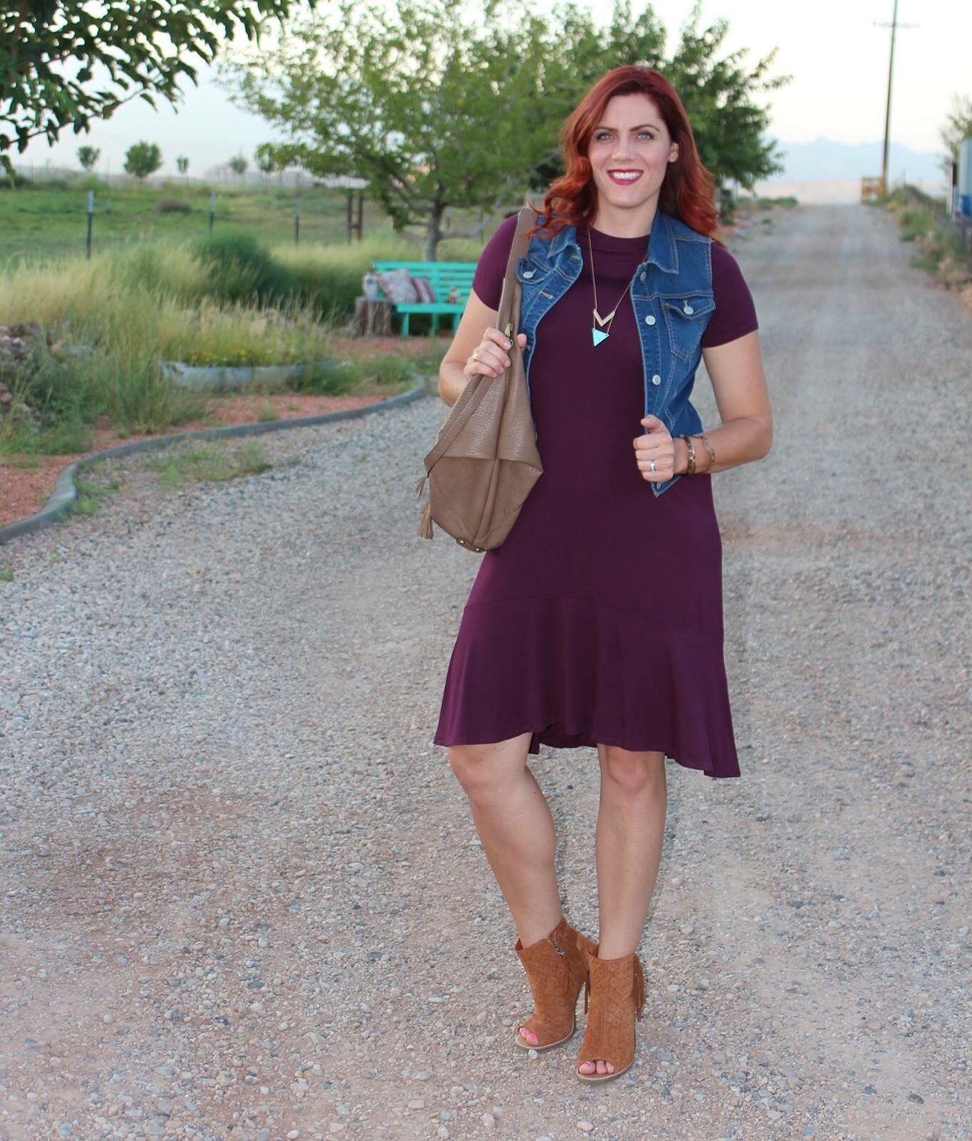 The Fitzgerald dress in plum is amazing for fall!! Shop my link in bio.