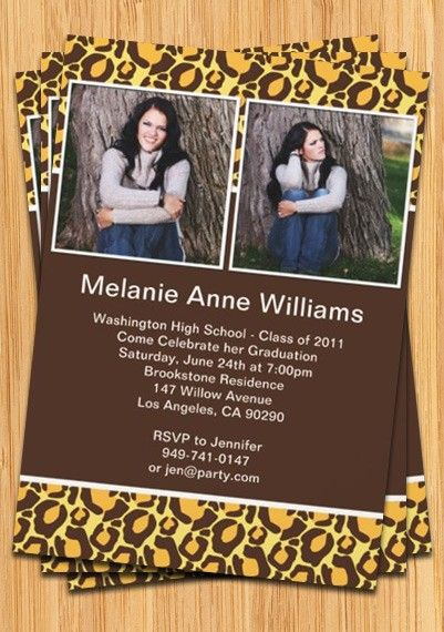 Animal Print Graduation Invitation Class of 2014 Graduation