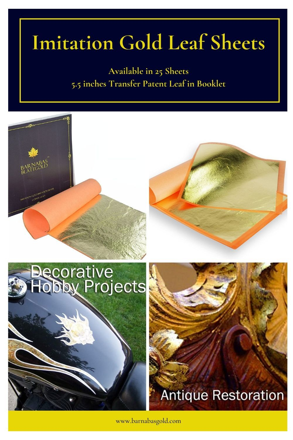 25 Sheets 5.5 inches Booklet Transfer Patent Leaf Genuine Copper Leaf Sheets by Barnabas Blattgold