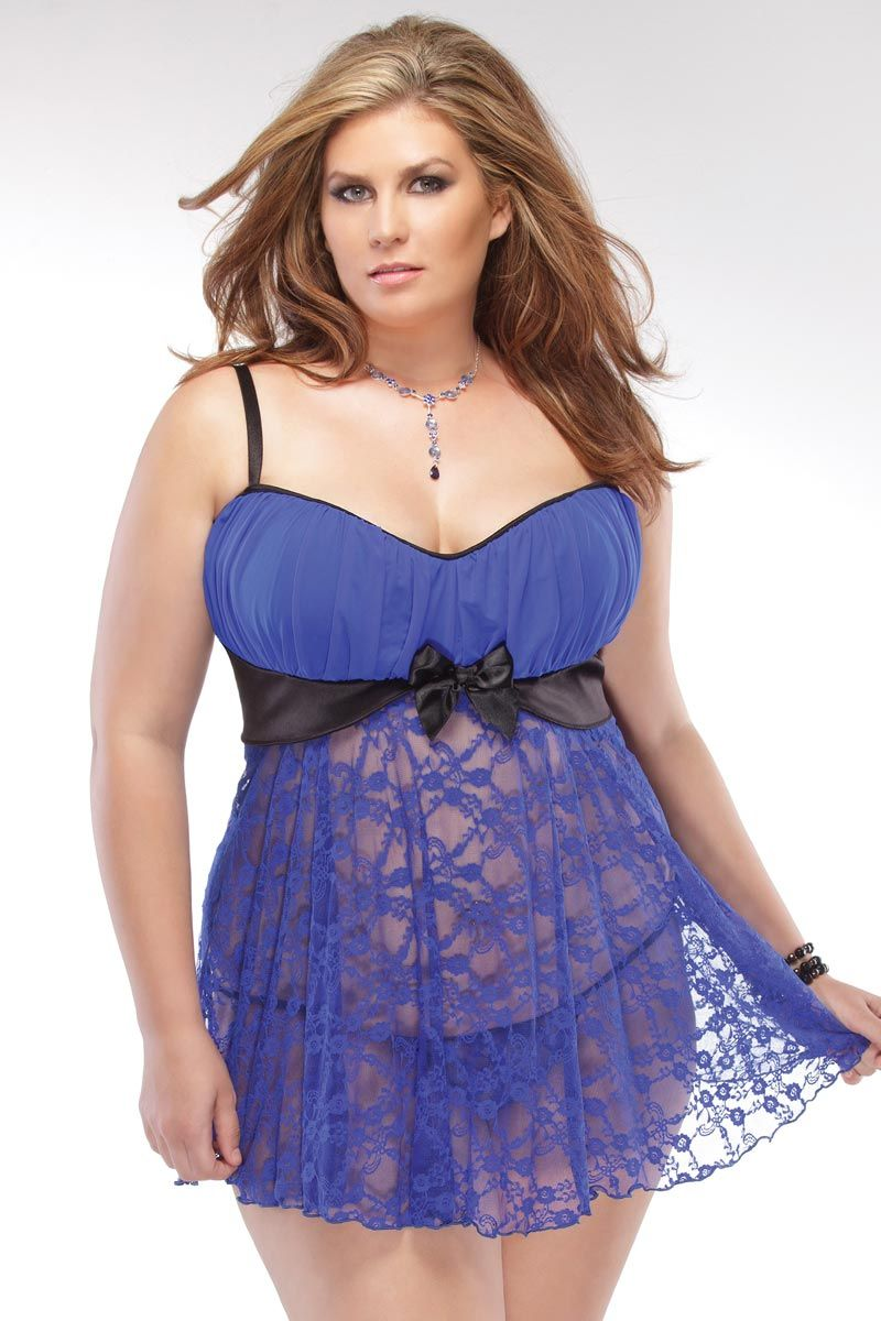 Plus Size Lingerie - Pleated Cup Babydoll | Plus Size Babydolls ...