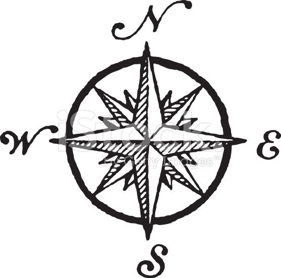A Cartographic Windrose Also Known As Compass Rose In Black