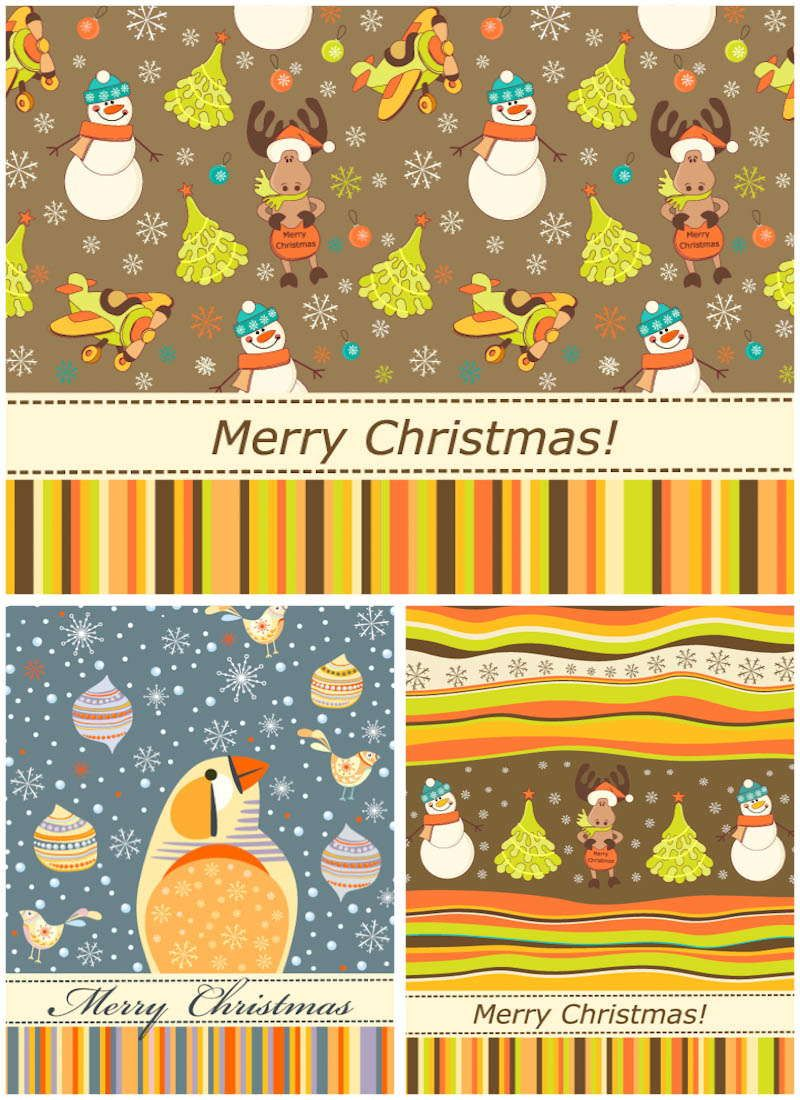 Cartoonish Retro Christmas Cards Vector
