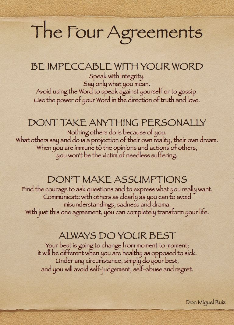 Four Agreements Quotes The Law Of Attraction And Love  Books Wisdom And Inspirational