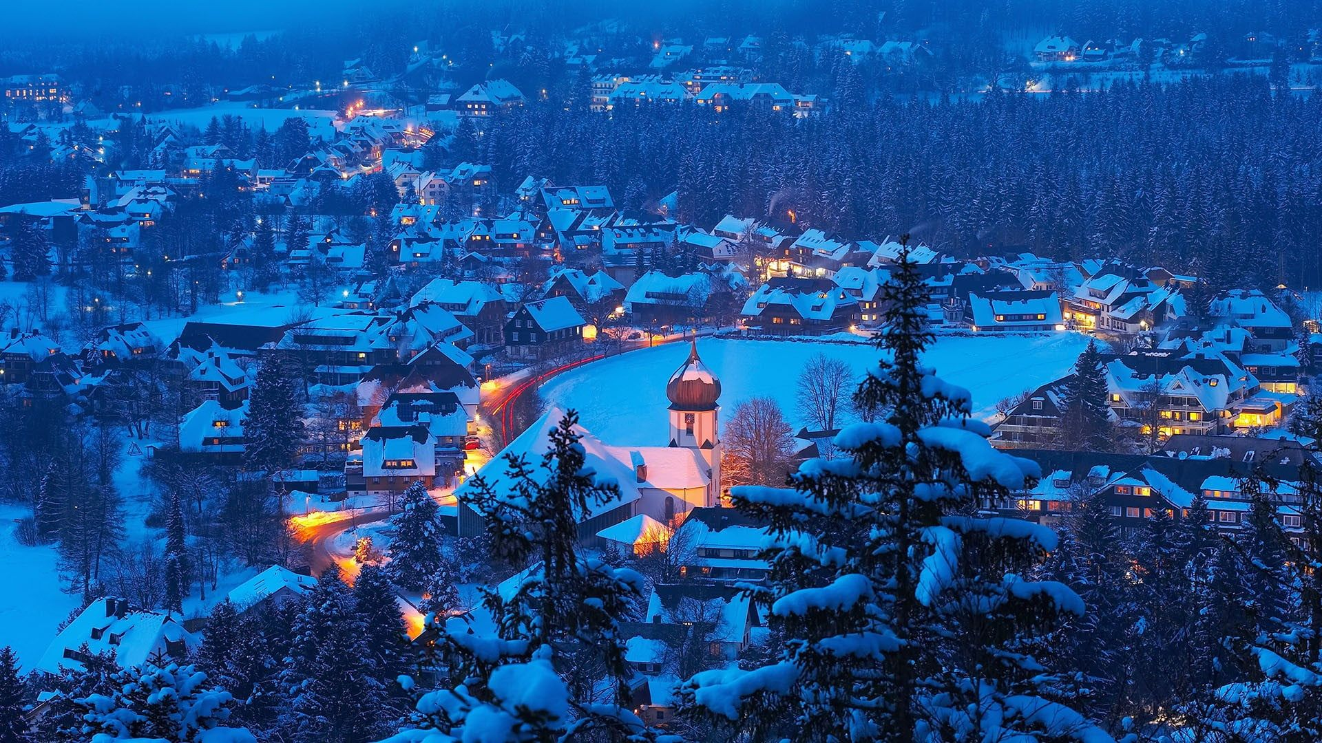 Hinterzarten Black Forest Baden Wurttemberg Germany Snow Snow Covered City Night Winter 1080p Wallpaper H Forest Resort Places To Travel Black Forest