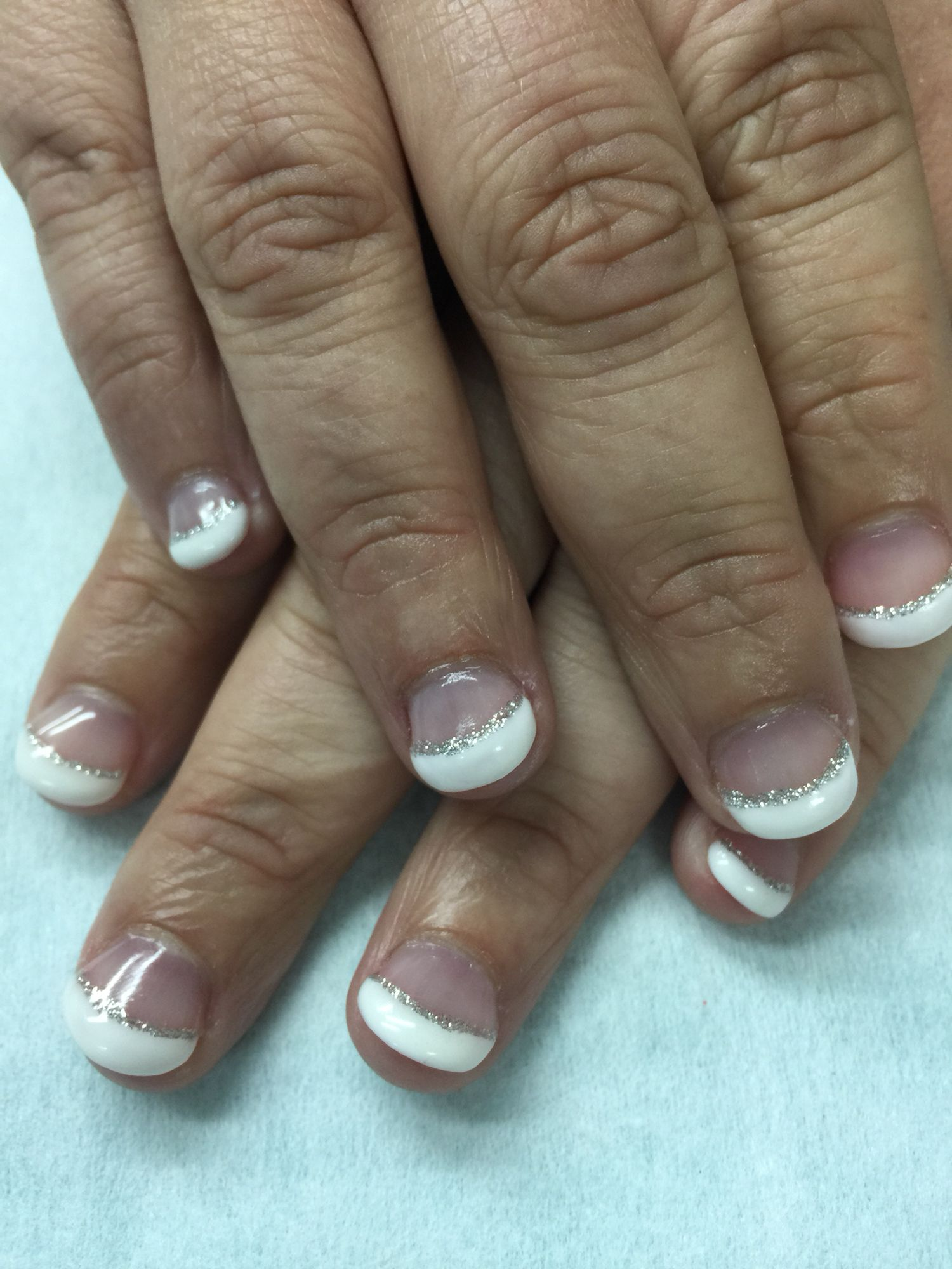 Nail bitter brides white French sculpted gel nails with silver ...