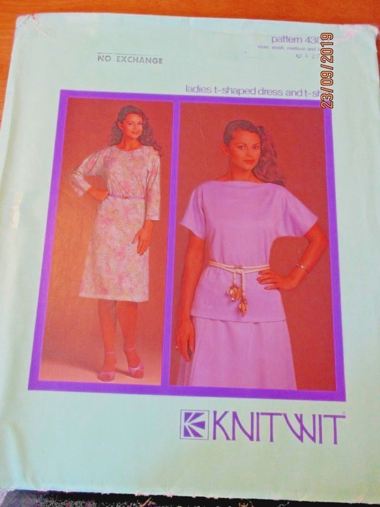 Details about KNITWIT SEWING PATTERN NO. 4300 LADIES T- SHAPED DRESS ...