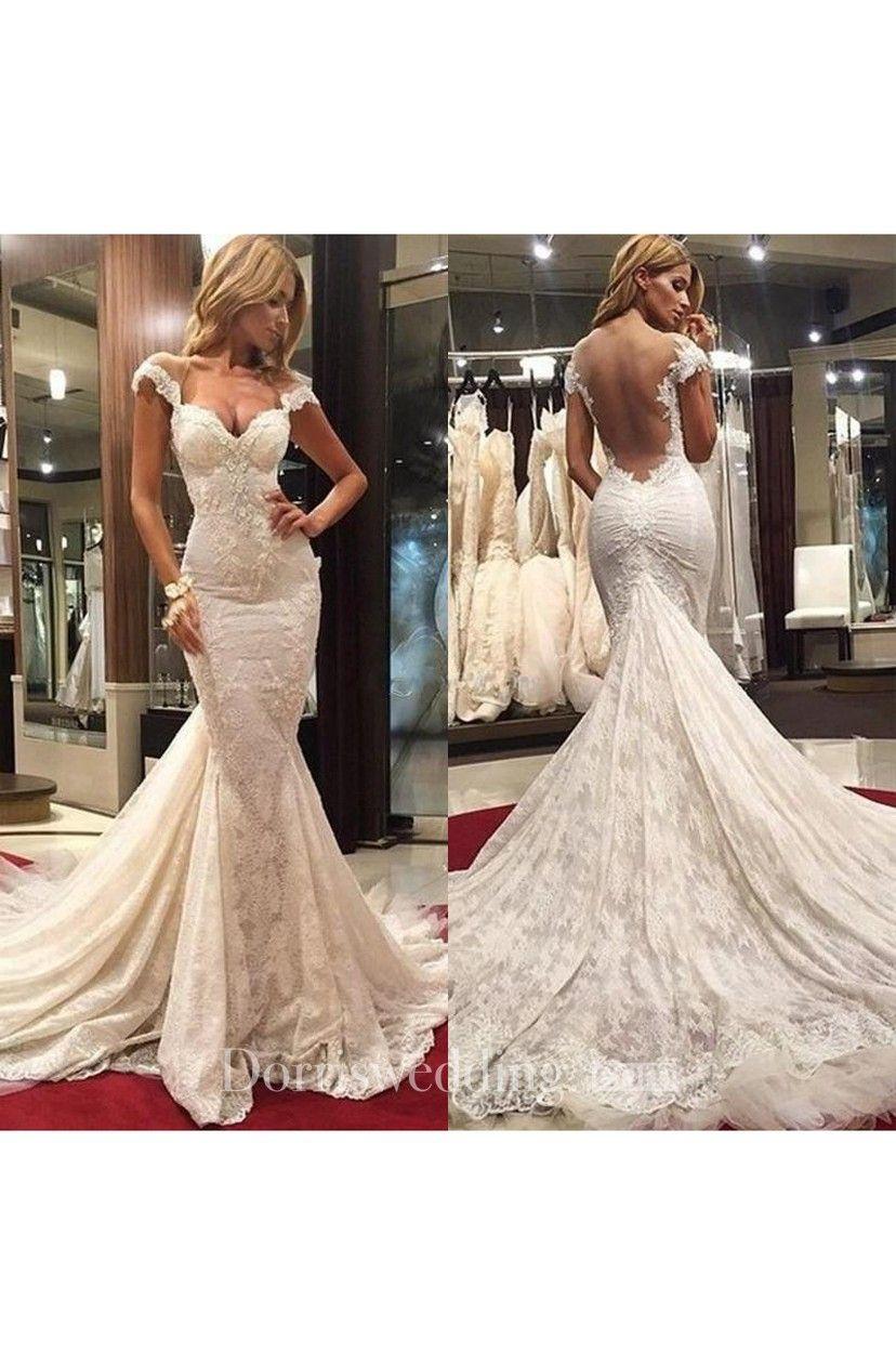 Delicate mermaid lace appliques wedding dress court train